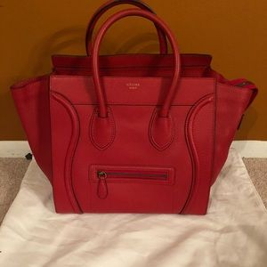 Celine Mini Pebbled Red Luggage Tote